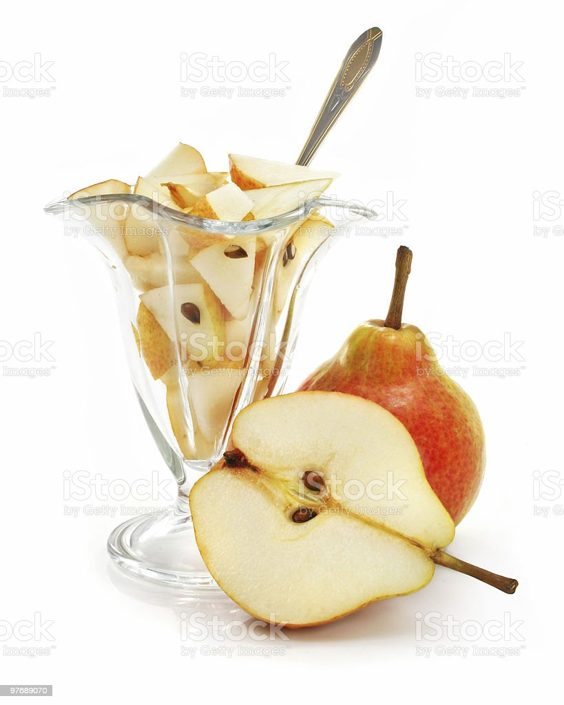 pear fruit cut with dessert in glass isolated royalty-free stock photo