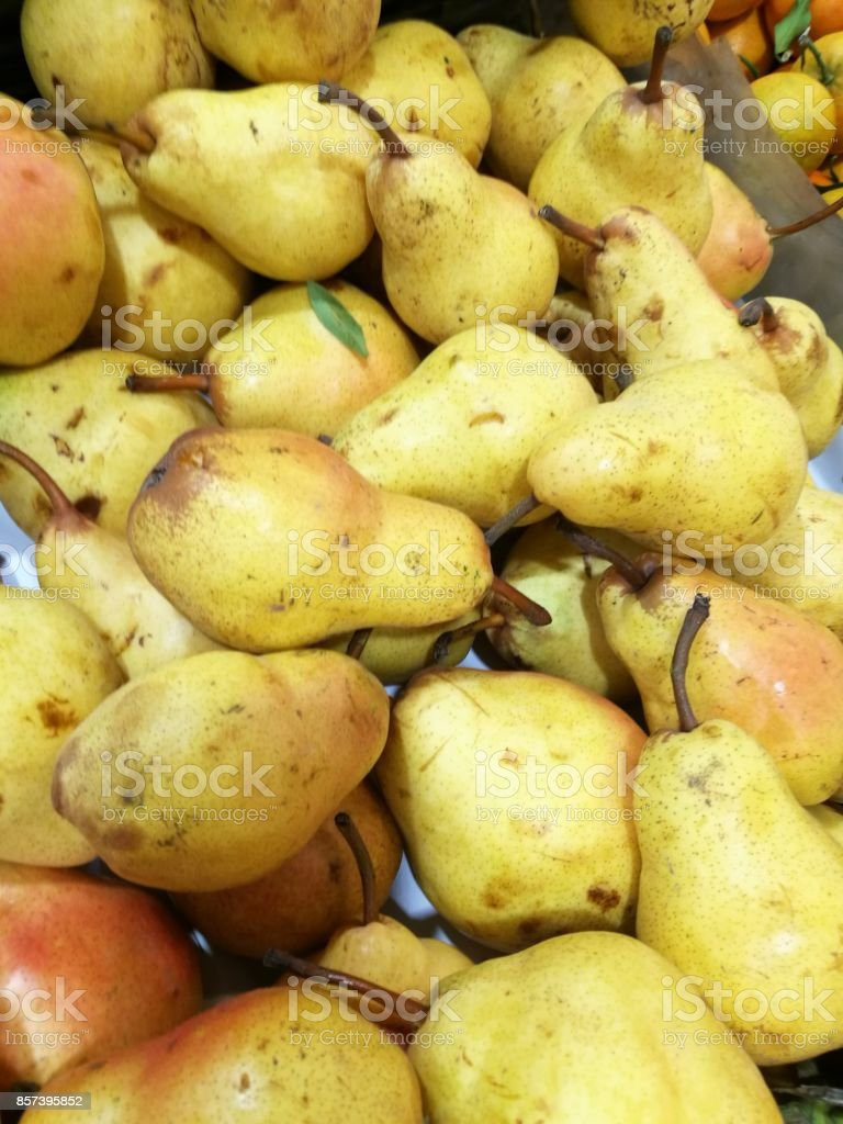 Pear in display at farmers market stock photo