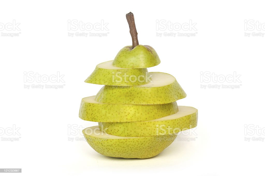 Pear in Slices  Color Image Stock Photo