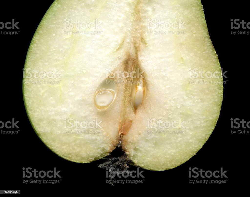 Pear, isolated on a black background. stock photo