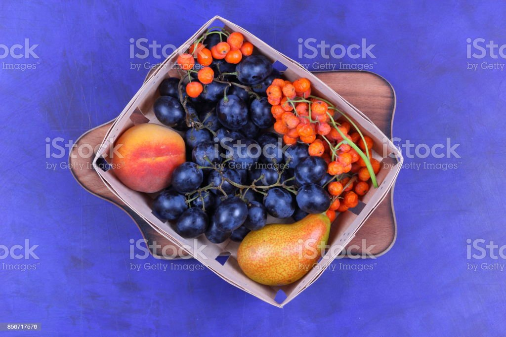 Pear, peach, dark blue grapes and rowanberry in a wooden box on a dark background in retro style stock photo