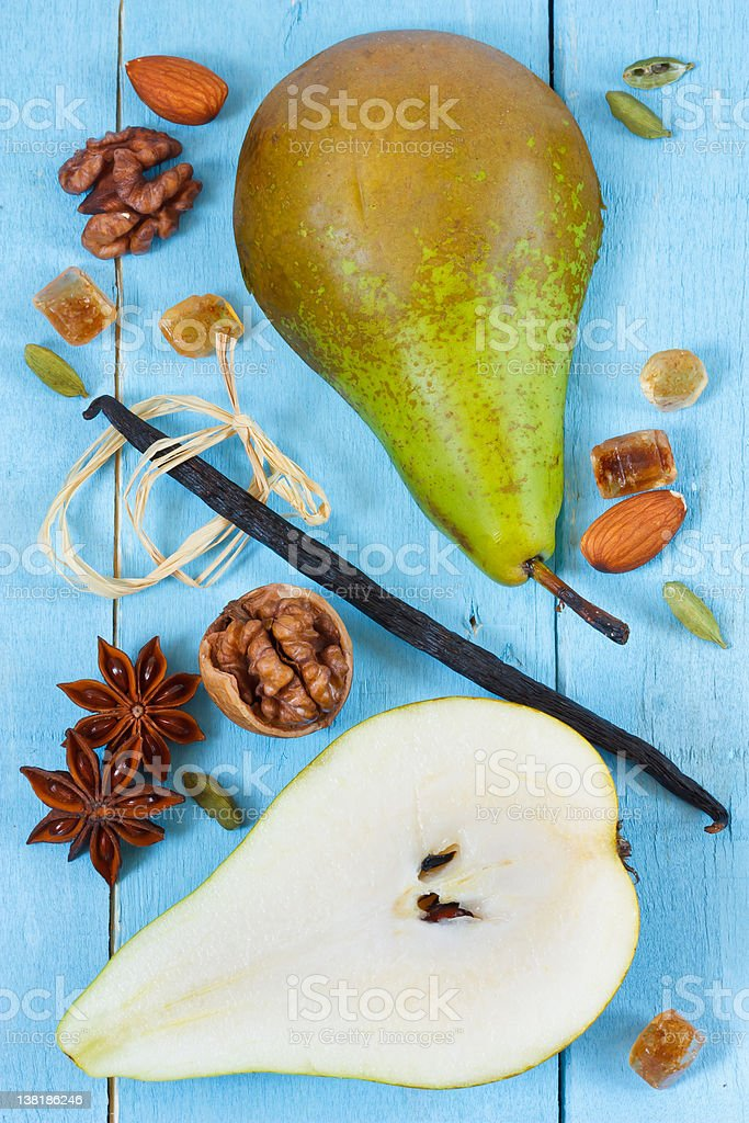 Pear, vanilla and spices. royalty-free stock photo