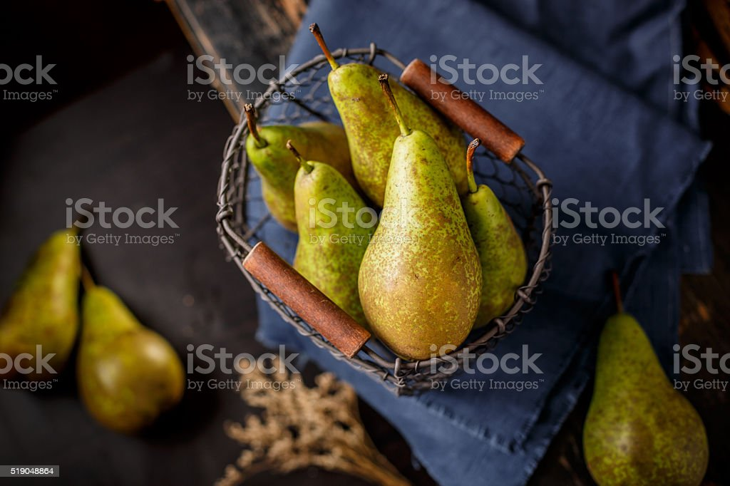 Pear with basket stock photo