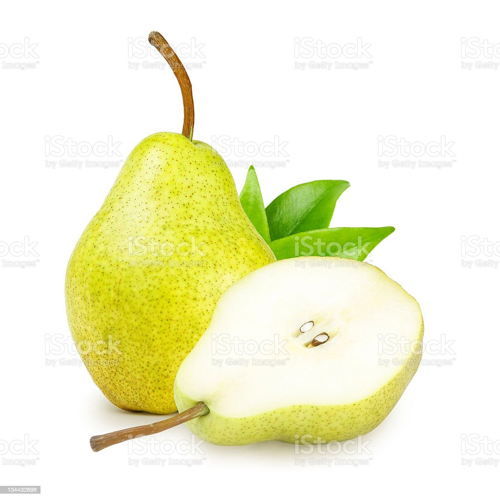Pear with green leaves stock photo