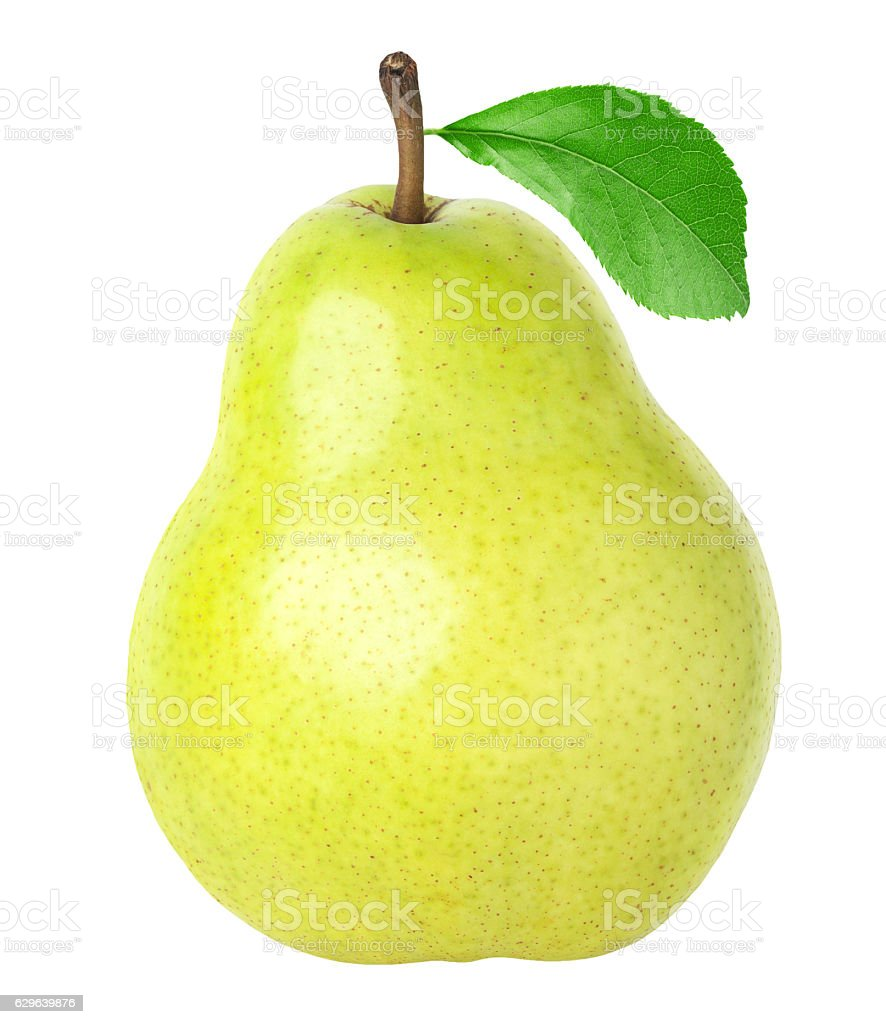 Pear with leaf isolated on white – Foto