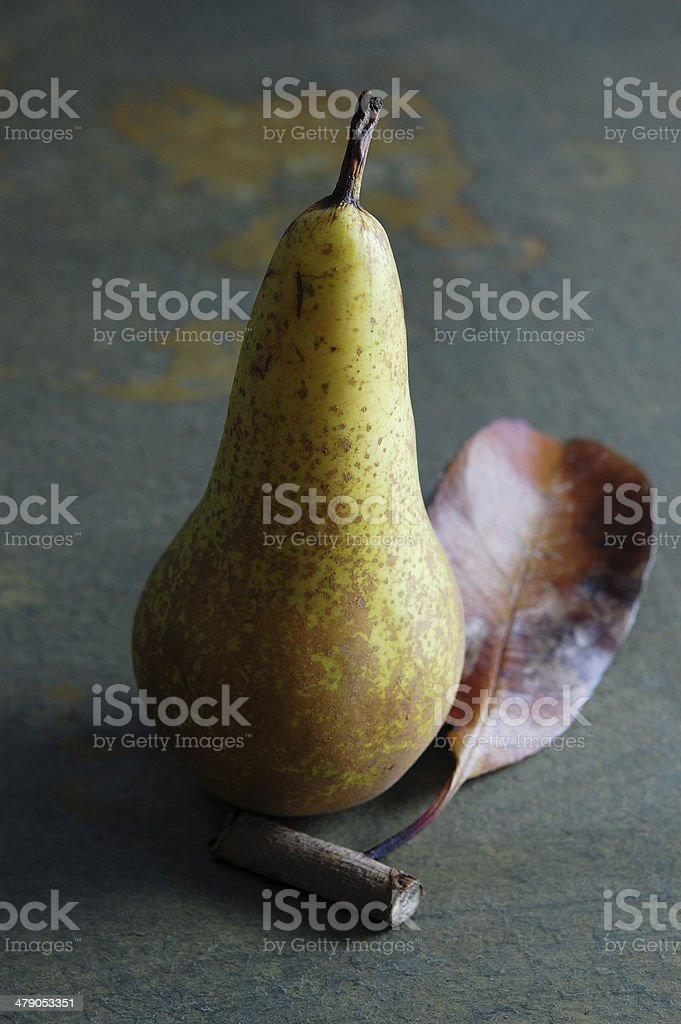 Pear with leaf stock photo