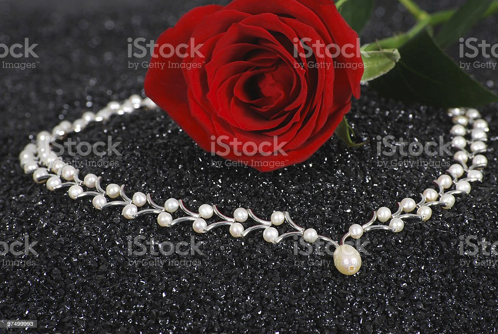 Pearl and rose royalty-free stock photo