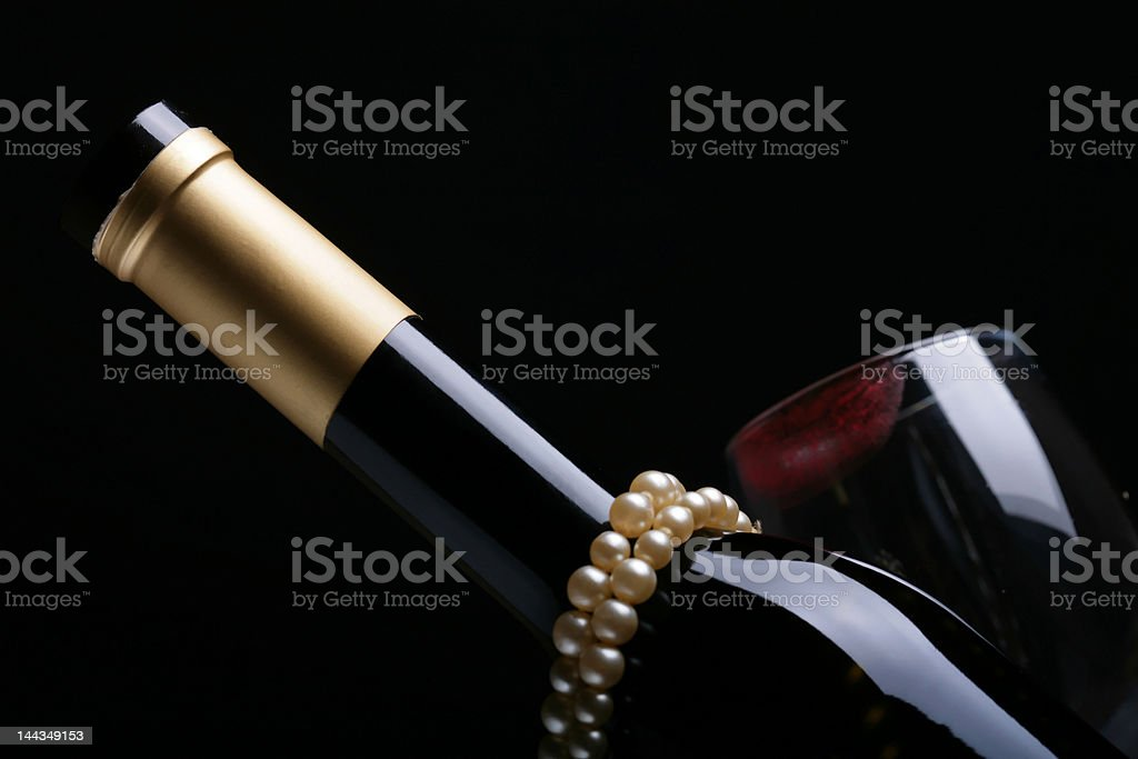 pearl and wine royalty-free stock photo