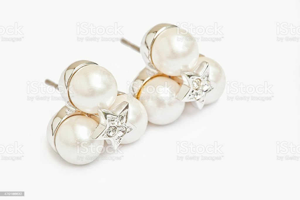 Pearl diamond earings stock photo