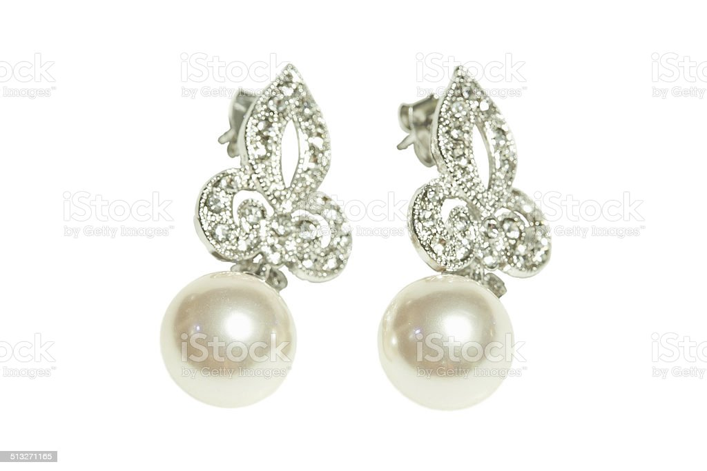Pearl diamond earrings stock photo
