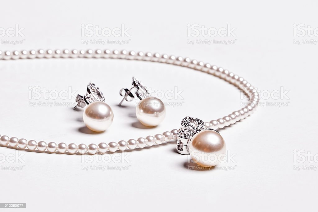 Pearl Earring and  necklace stock photo