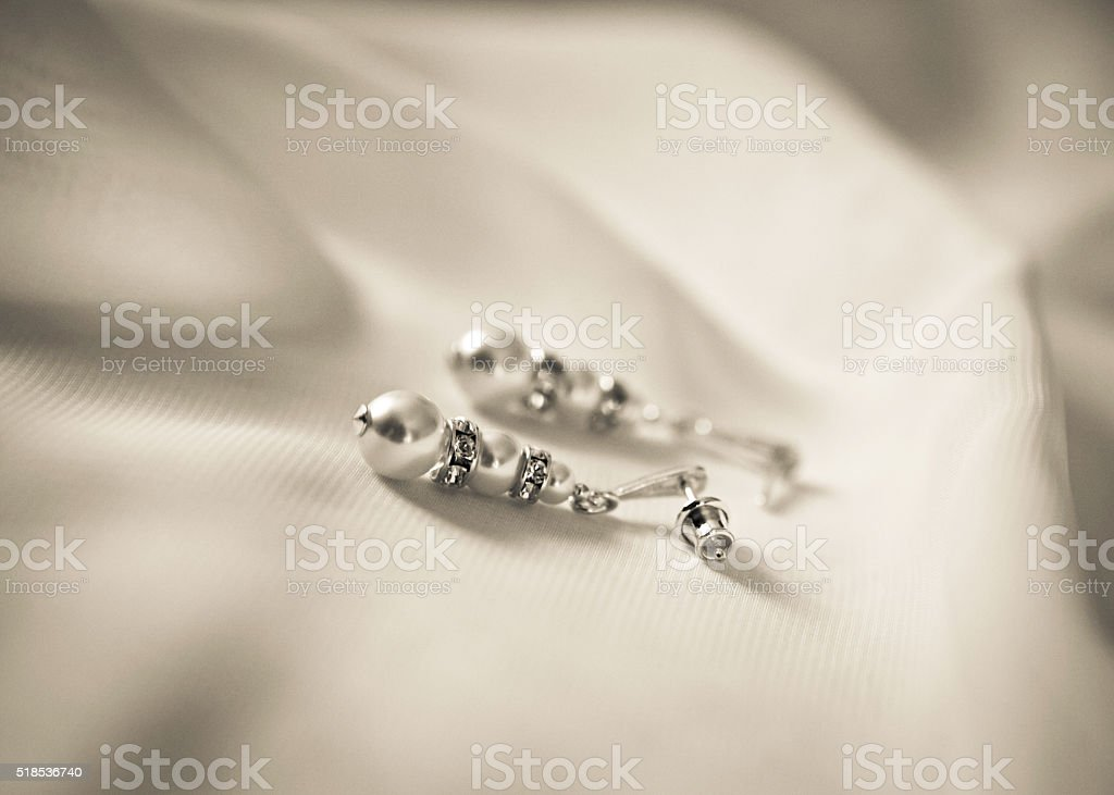 Pearl earrings stock photo