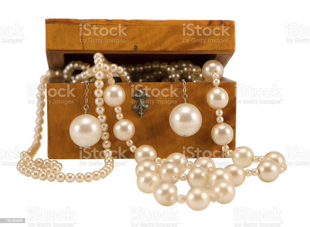 Pearl jewelry in retro wooden box isolate on white royalty-free stock photo