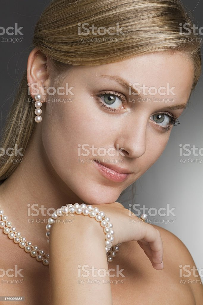 Pearl Jewelry on Model Close-up royalty-free stock photo