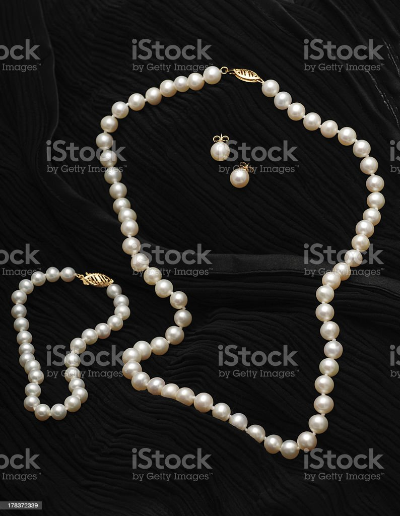 Pearl Jewelry set stock photo