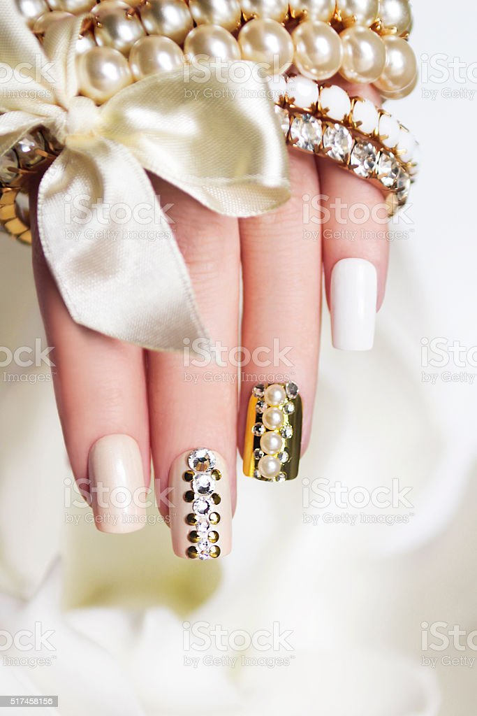 Pearl manicure. stock photo