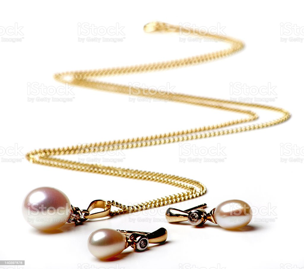 pearl necklace and earings royalty-free stock photo