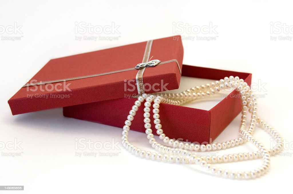 Pearl Necklace as a Gift out of Red Box royalty-free stock photo