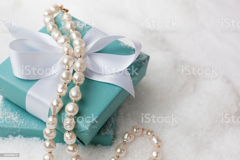 Pearl necklace gift royalty-free stock photo