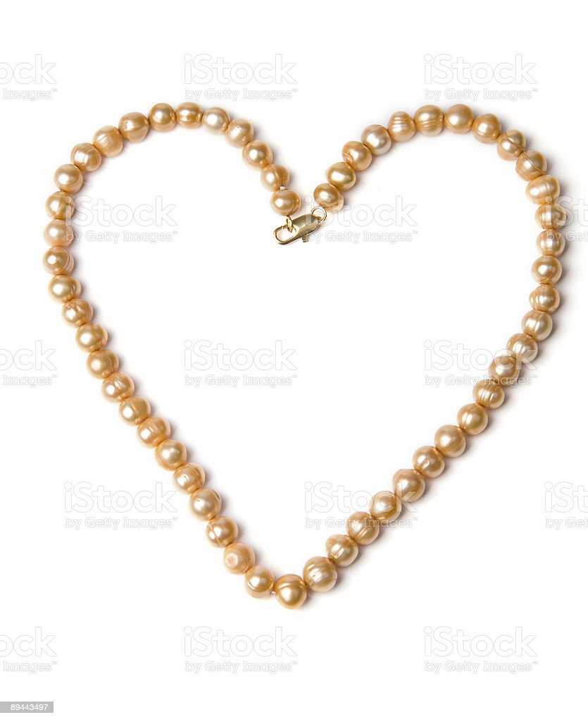 Pearl necklace heart shape royalty-free stock photo