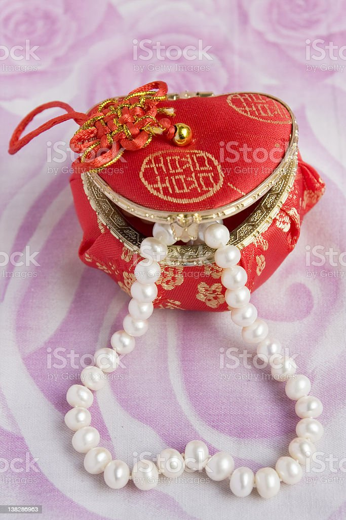Pearl necklace in a box royalty-free stock photo