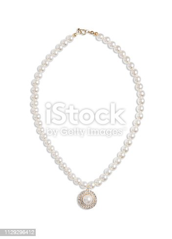 Pearl necklace isolated on white background(with clipping path)
