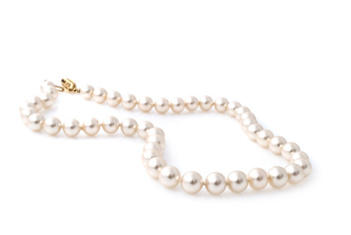 Pearl Necklace Over White Background Stock Photo