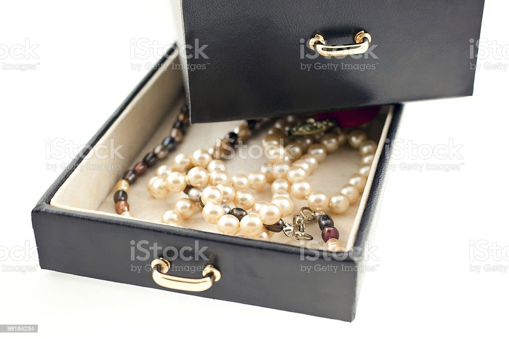 pearl necklaces in a black jewelry box royalty-free stock photo