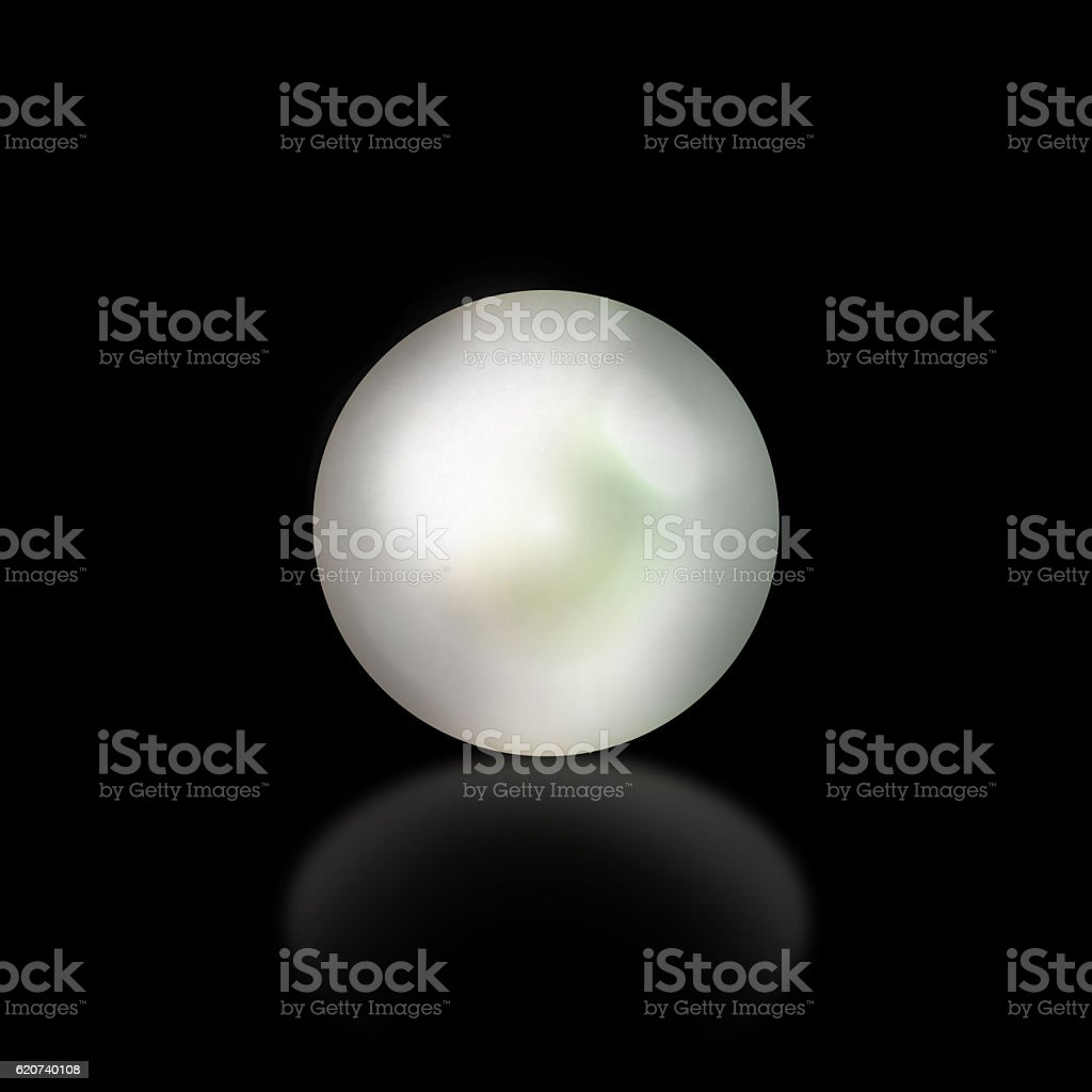 Pearl on black background stock photo