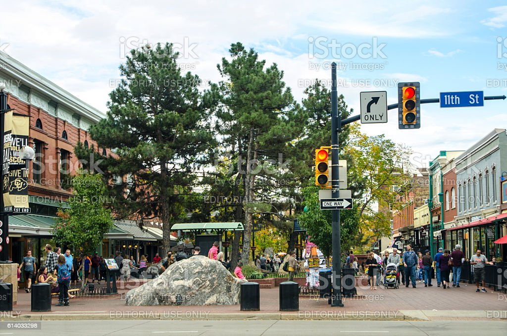 Pearl Street Mall in Downtown Boulder, Colorado stock photo