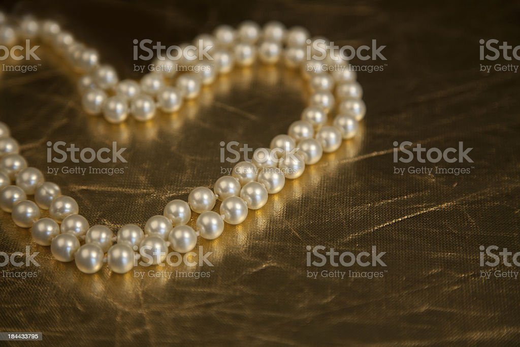 Pearls in the shape of a heart royalty-free stock photo