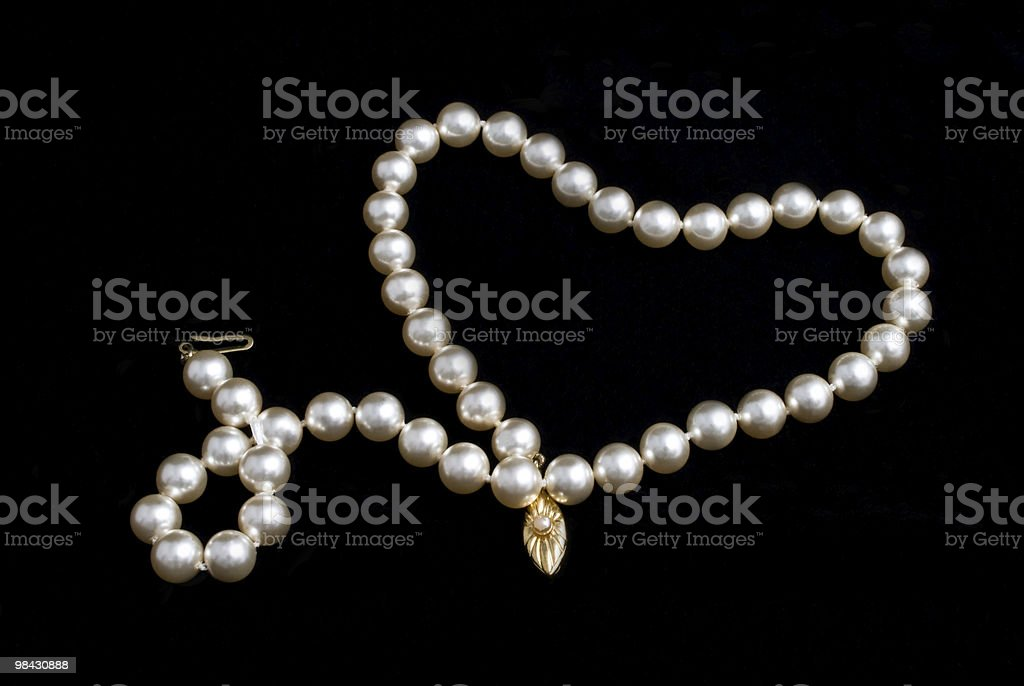 Pearls necklace on black background royalty-free stock photo