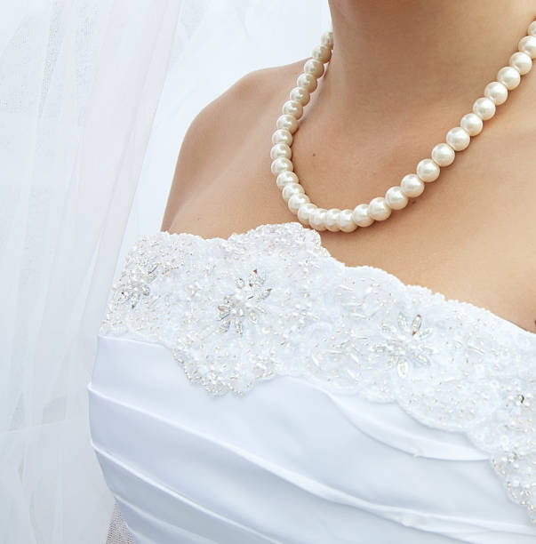 pearls on neck Bride stock photo