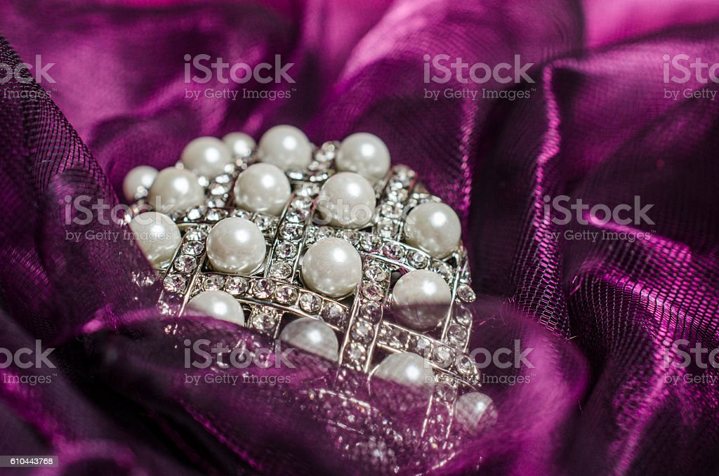 pearls on the tulle stock photo
