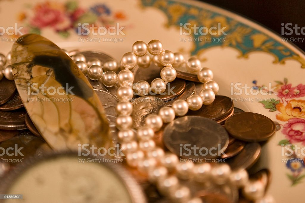 Pearls & Picture Agate royalty-free stock photo
