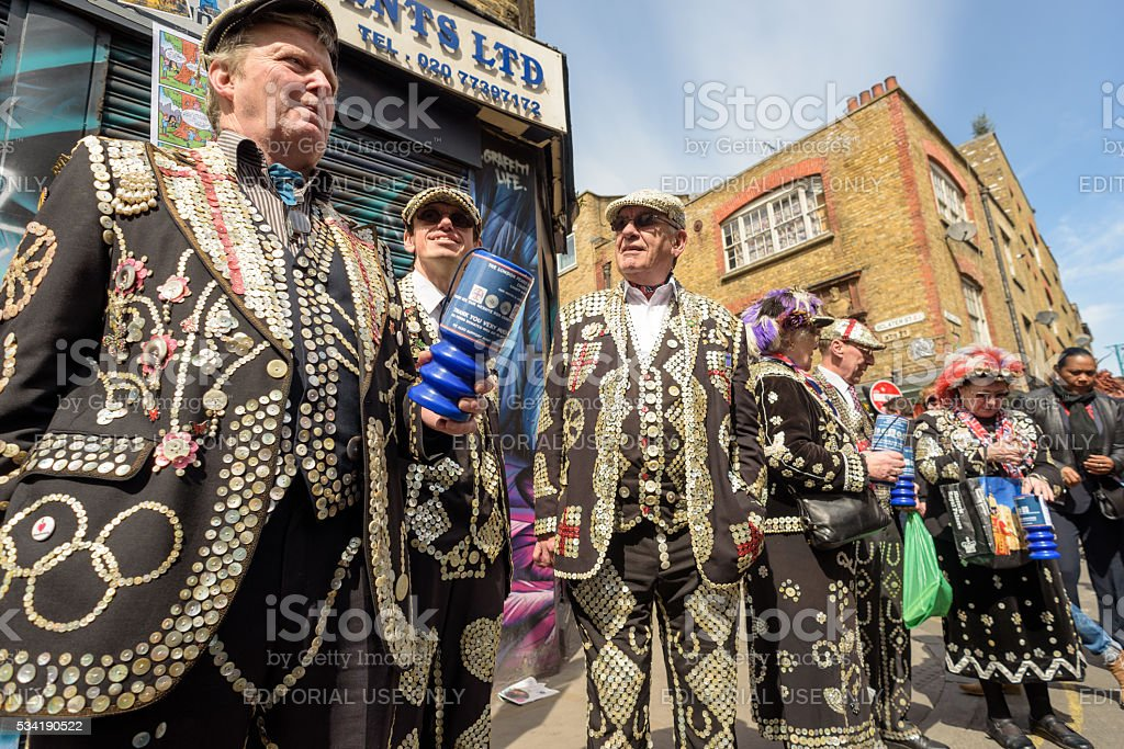 Pearly Kings and Queens from London stock photo