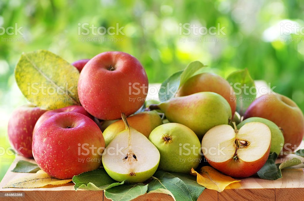 pears and apples  on a rustic wooden table stock photo