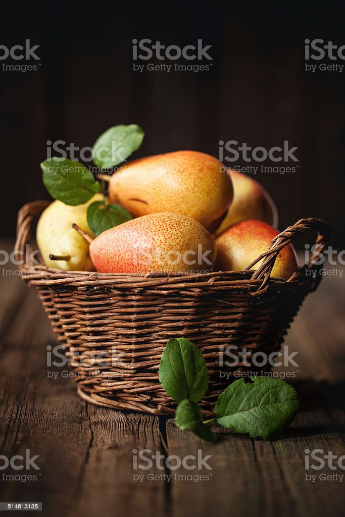 Pears in a basket stock photo