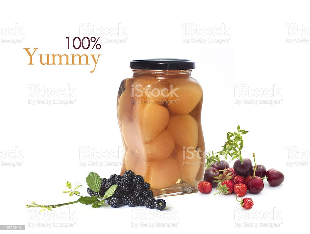 Pears in jar  with fruits isolated on white royalty-free stock photo