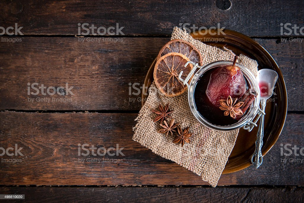 Pears in the wine stock photo