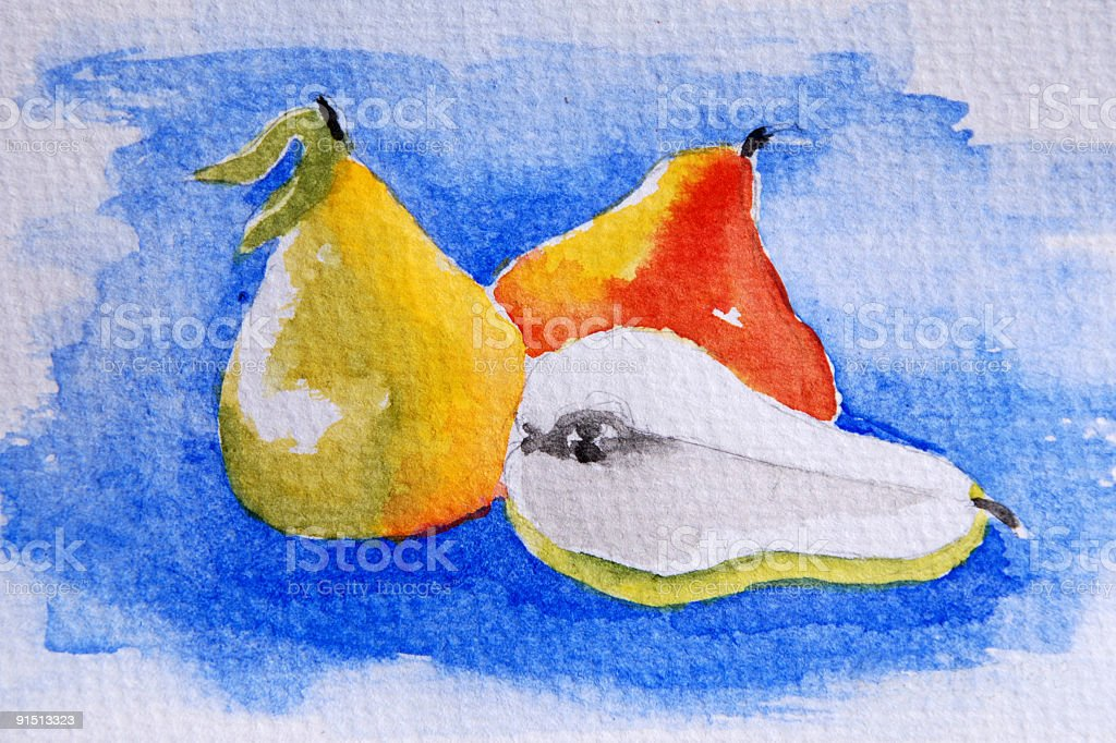 Pears in Watercolour royalty-free stock photo