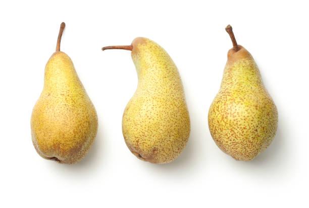 pears isolated on white background - pera foto e immagini stock