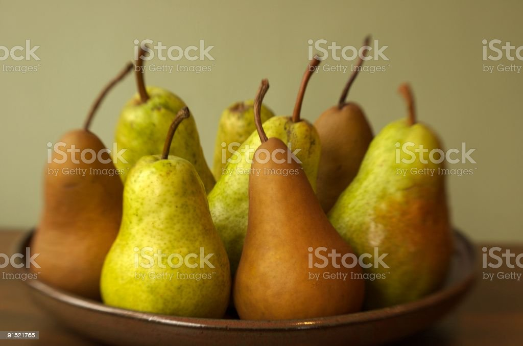 Pears on a Pottery Plate stock photo