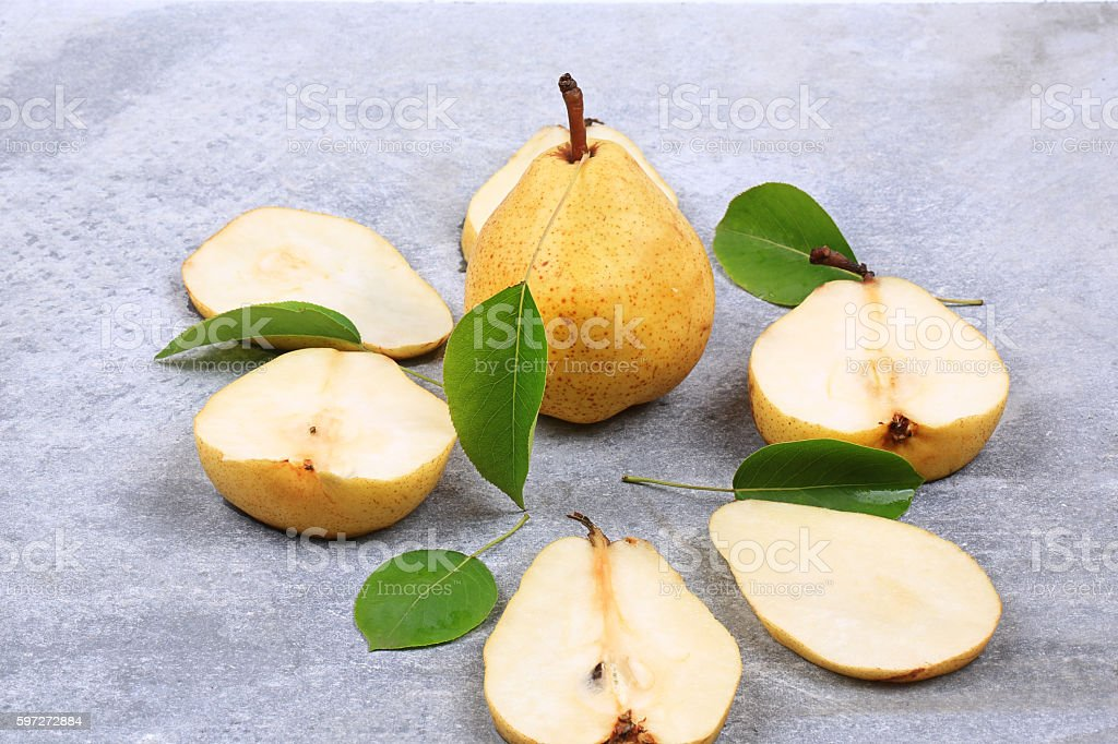 pears on gray background  autumn Lizenzfreies stock-foto