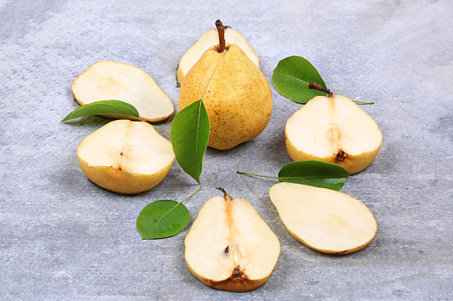 Pears On Gray Background Autumn Stock Photo - Download Image Now