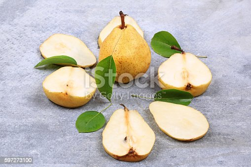 Pears On Gray Background Autumn Stock Photo & More Pictures of Backgrounds