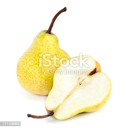 Whole and half yellow pear isolated on white background.