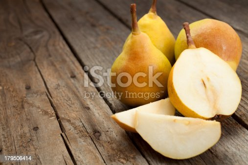Pears on old wood table