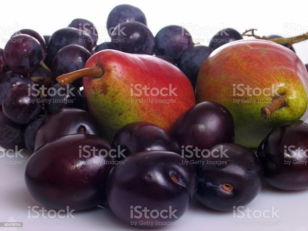 Pears, plums and grapes royalty-free stock photo