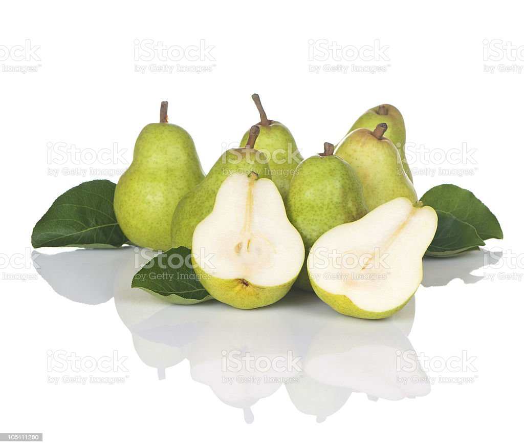 Pears Seven With One Sliced royalty-free stock photo